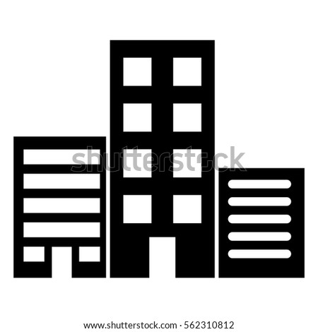 Vector illustration of multistory commercial building icon in black
