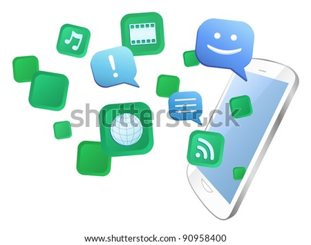Vector illustration of multitasking with white multimedia touch screen mobile phone. Eps8 file grouped, layered and named for easy editing.