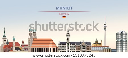 Vector illustration of Munich city skyline on colorful gradient beautiful day sky background with flag of Germany