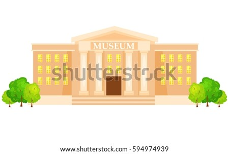 vector illustration of  museum building with title and columns vector illustration