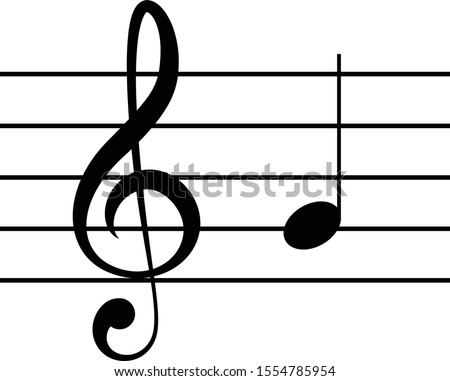 vector illustration of music G clef with note G or SOL on staff lines Foto stock ©