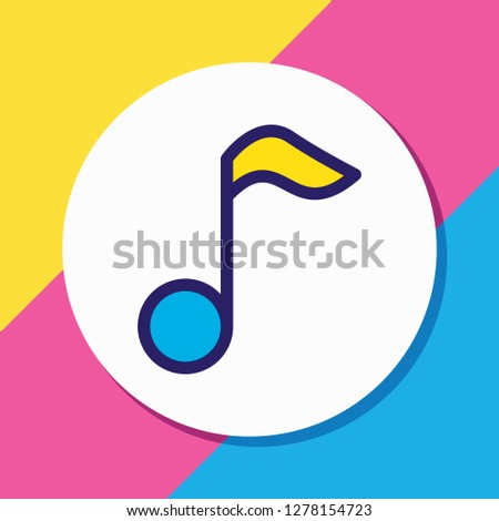 Vector illustration of music icon colored line. Beautiful entertainment element also can be used as quaver icon element.