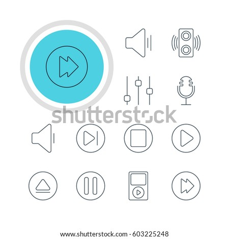 Vector Illustration Of 12 Music Icons. Editable Pack Of Decrease Sound, Start, Rewind And Other Elements.