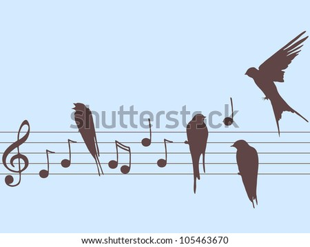 Vector illustration of music notes with birds