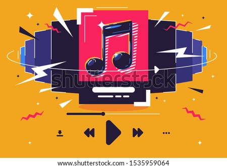 vector illustration of music songs playlist concept, track list, music listening icons