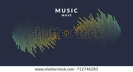Vector illustration of music wave in the form of the equalizer on dark background