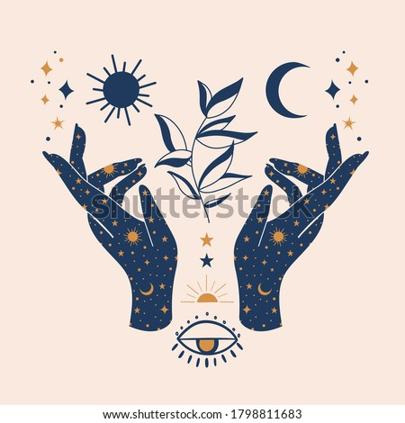 Vector illustration of mystical mudra hands, celestial symbols of sun, moon and stars. Esoteric, spiritual, wicca occult inspired concept. Perfect for Tshirt graphic, cards etc.