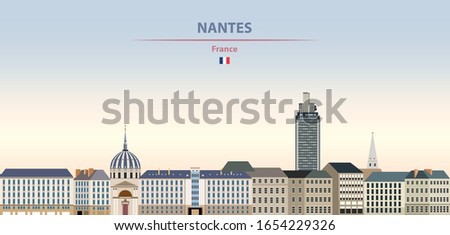 Vector illustration of Nantes city skyline on colorful gradient beautiful daytime background