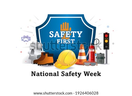 Vector illustration of National safety day, week and worker, employees safety awareness at working place