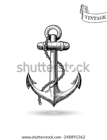 Vector illustration of nautical anchor. Symbol of sailors, sail, cruise and sea. Travel design. Icon and design element.