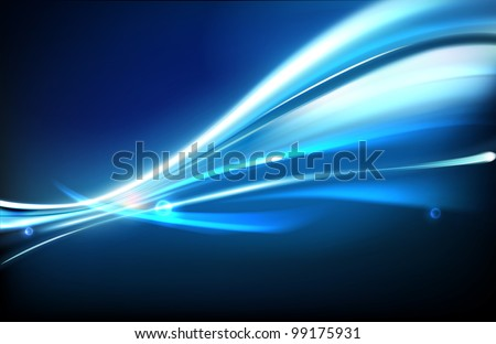 Vector illustration of neon abstract background made of blurred magic blue light curved lines