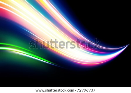 Vector illustration of neon abstract background made of blurred magic color light curved lines
