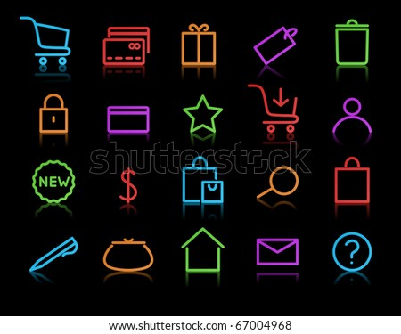 Vector illustration of neon original e-commerce Icon Set, good for web, software etc.