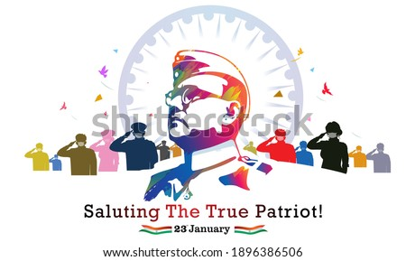 vector illustration of netaji subhash chandra bose, republic day of India army day celebration, remembering the true patriot and Army soldiers saluting subhas chandra bose