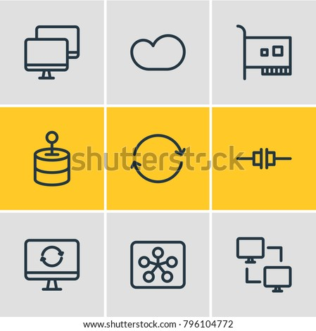 Vector illustration of 9 network icons line style. Editable set of solve, synchronize, card and other elements.
