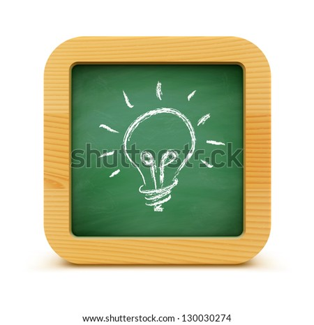 Vector illustration of new idea concept with green blackboard and light bulb