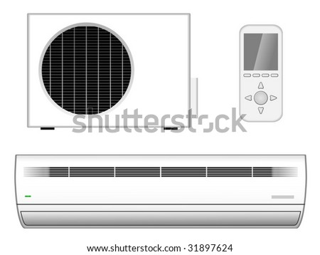 Vector illustration of new modern air-conditioner with outside part and remote control isolated on white background