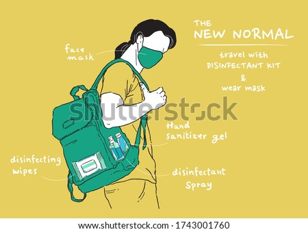 Vector illustration of new normal lifestyle. Man wearing mask and carry disinfectant kit when going out home. Protect yourself from viruses, Coronavirus (COVID-19).