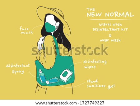 Vector illustration of new normal lifestyle. Wearing mask and carry disinfectant kit when go out home. Protect yourself from virus, Coronavirus (COVID-19),