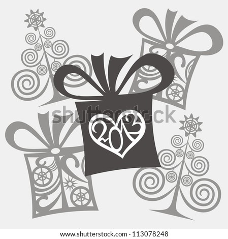 Vector illustration of new year background black and white