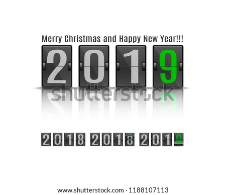 vector illustration of 2019 new year banner template with flip mechanical scoreboard in movement timetable