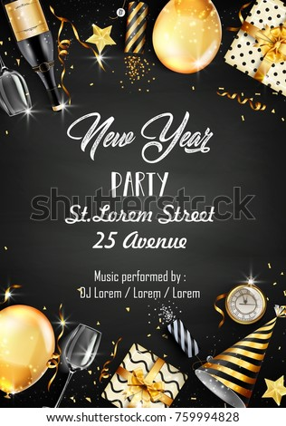 Vector illustration of New year party design template with elements