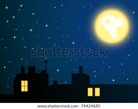 vector illustration of night