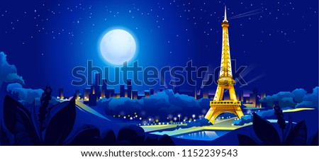 vector illustration of night view of Paris