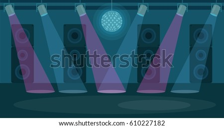 Vector illustration of  Nightclub. Dance floor in flat style design. Party disco, music and nightlife