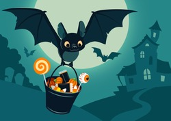 Vector illustration of nighttime Halloween scene, cute bat flying with bucket full of candy, with full moon, haunted house, forest cemetery in the background. ?anner, poster or card template.