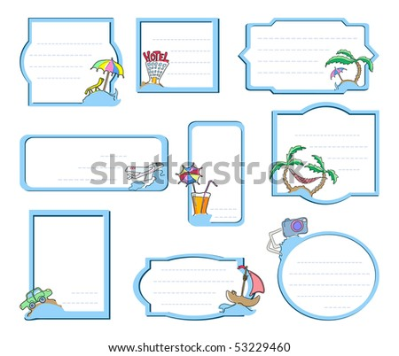 Vector illustration of nine frames with elements of trip