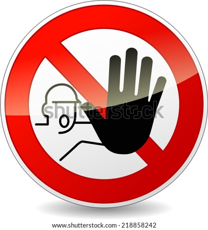 Vector illustration of no entry red and white sign