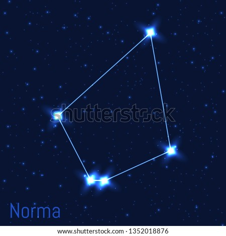 Vector illustration of Norma constellation. Astronomical Carpenter's Level. Cluster of realistic stars in the dark blue starry sky.