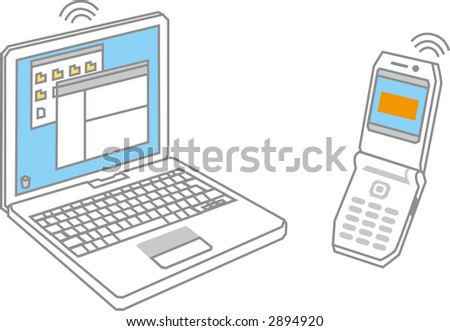 vector illustration of note and mobile phone