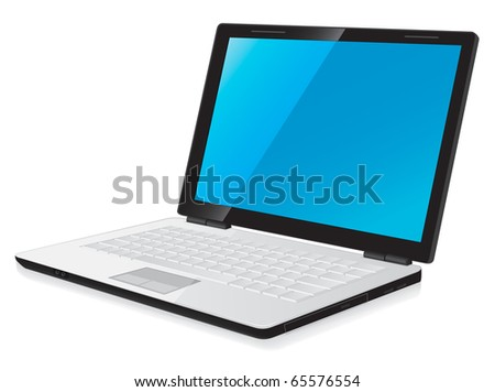 vector illustration of notebook laptop computer with blue desktop