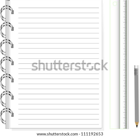 vector illustration of notebook with pencil , ruler