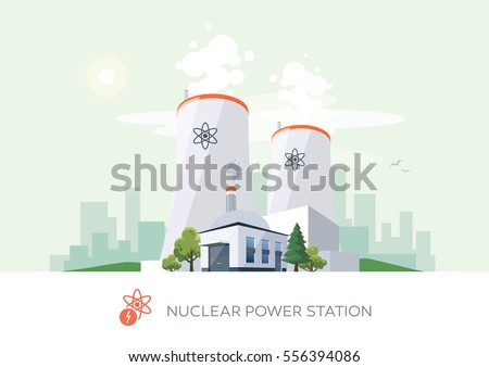 Vector illustration of nuclear power plant factory icon with sun and urban city skyscrapers skyline on green turquoise background.