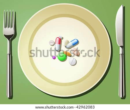Vector illustration of nutritional care represented by a few pills serving on the plate