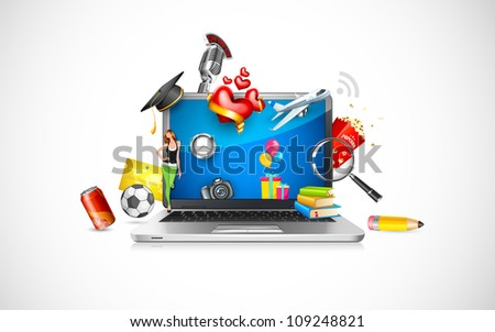 vector illustration of object coming out of laptop screen showing online shopping