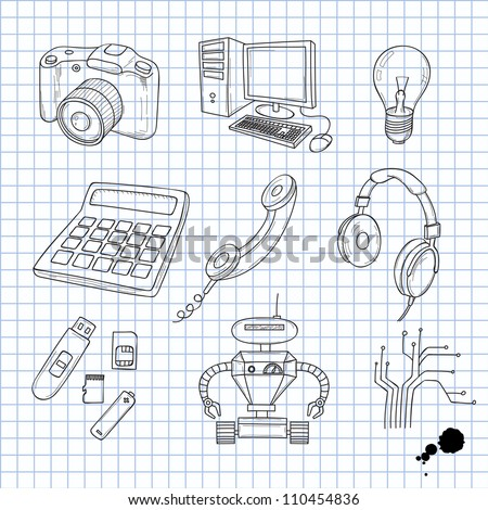 Vector illustration of objects on electronics - stock vector