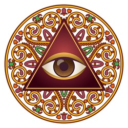 Vector illustration of occult sign third eye with ornamental mandala. Mystic symbol for bohemian design. Sacred tattoo eye in triangle