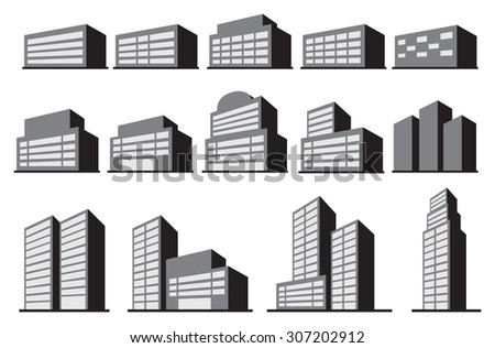 Vector illustration of office or commercial building blocks in monochromatic grey isolated on white background.