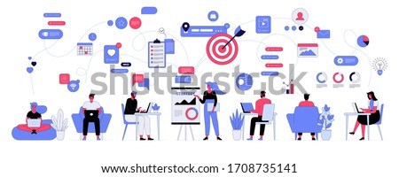 Vector illustration of office workflow and team building. Man and woman employees work together on work task. Manager, coworkers working on laptop or computer, online communication, show presentation