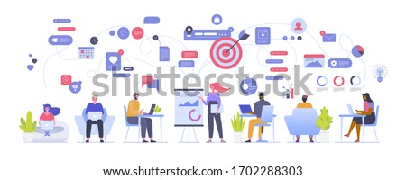 Vector illustration of office workflow employees and team building. Man and woman personnel, manager, coworkers working on laptop or computer, doing tasks, show presentation, online communication