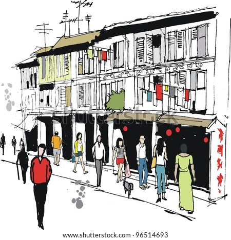 Vector illustration of old buildings and pedestrians in Chinatown, Singapore