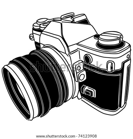 vector illustration of old-fashioned camera