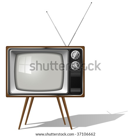 Vector illustration of old-fashioned four legged TV set isolated on white background.