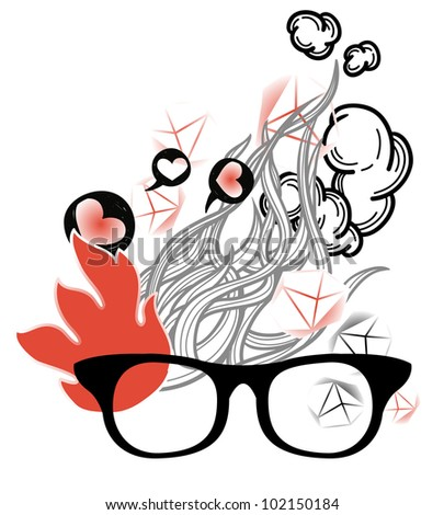 vector illustration of old-fashioned glasses on an abstract background with cartoon fire