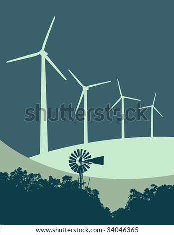 "Vector illustration of old-fashioned windmill and trees contrasted with  a row of modern wind turbines on a ""wind farm""."