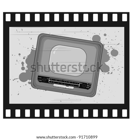 Vector illustration of old frame with old TV